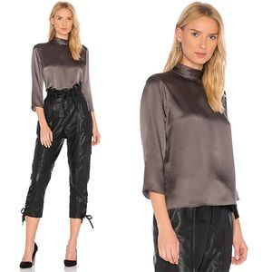 Vince Mock Neck Silk Top in Oil Large NWT